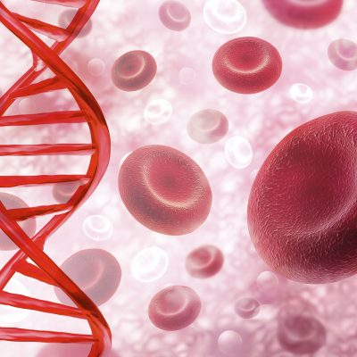 A red DNA floats vertically in front of a sea of close-up blood cells.