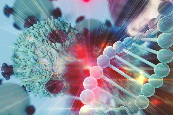 A graphic rendering of a close-up turquoise DNA in front of red and turquoise cancer cells.