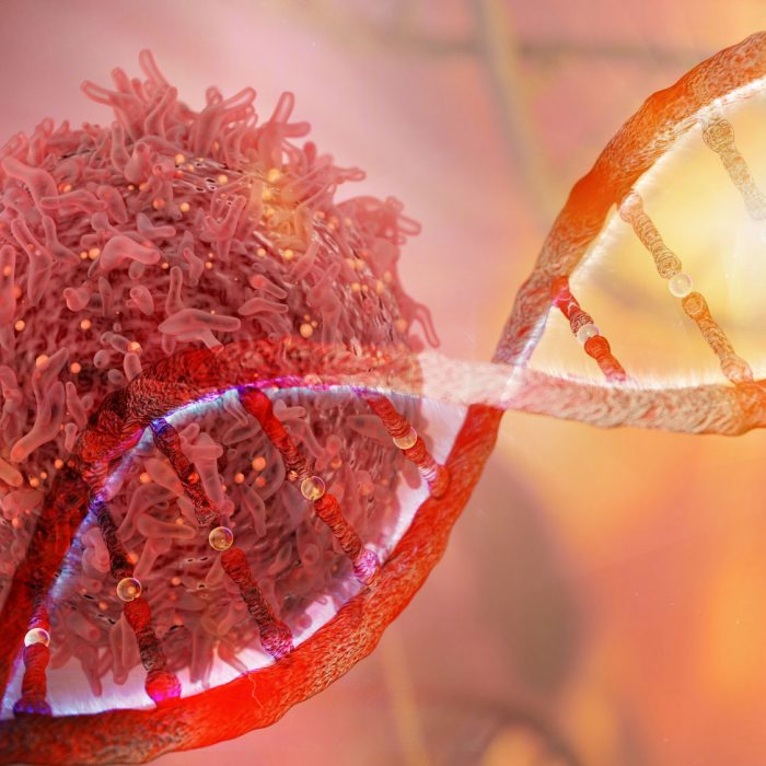 A DNA strand overlaps a close-up of a cancer cell.