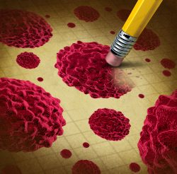 A pencil erases a cancer cell, illustrated in red.