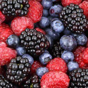 Close-up of blueberries, rasberries, and blackberries.