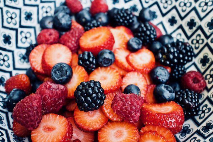 A bowl of blackberries, strawberries, and rasberries